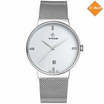 Đồng hồ nam WWOOR 8018 dây thép (trắng bạc)