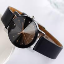 Đồng hồ nữ thời trang dây da (đen)