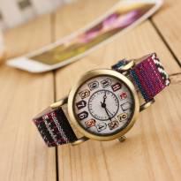 Đồng hồ nữ thời trang dây PU phối vải họa tiết