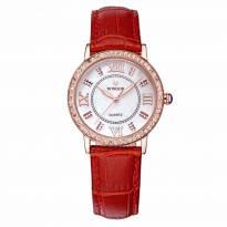 Đồng hồ nữ WWOOR 8807 dây da (đỏ)