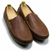 Giày lười da trơn màu nâu (601TTN)