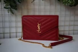 [YSL] Túi nắp gập bìa thư đeo chéo (đỏ)