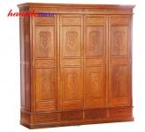 Tủ quần áo bốn cánh chạm gỗ hương TAG001