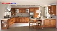 Bếp gỗ tự nhiên xoan đào BTN006