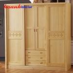 Tủ quần áo gỗ sồi tự nhiên TAH007