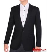 Áo vest nam, màu xám đậm, phối sọc, công sở