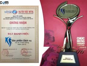 USCOM Đạt danh hiệu sản phẩm dịch vụ uy tín chất lượng 2015